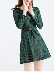 Long Sleeve Buttoned Plaid Mini Dress