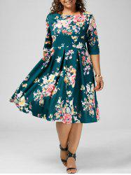 High Waisted A Line Floral Plus Size Dress