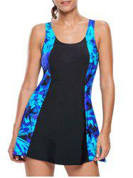 Lace Up Printed Skirted Swimsuit