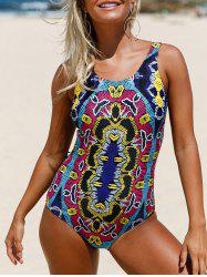 Printed Lace Up Swimsuit - COLORMIX S