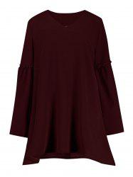 Ruffle Plus Size Flare Sleeve Smock Tunic Dress
