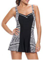 One Piece Skirted Swimsuit - WHITE AND BLACK S