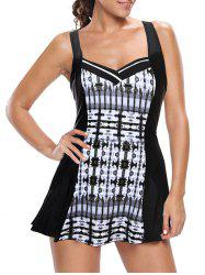 One Piece Skirted Swimsuit - BLACK AND GREY