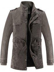 Rib Panel Stand Collar Faux Leather Longline Fleece Coat