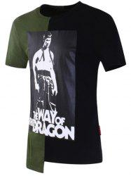 Bruce Lee Printed Asymmetric T-shirt - GREEN 2XL