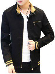 Front Zip Embellished Stand Collar Casual Jacket