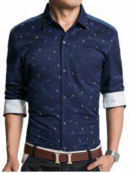 Denim Panel Leaves Print Embroidered Edging Shirt