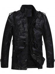 Epaulet and Belt Zip Up Fleece PU Leather Coat