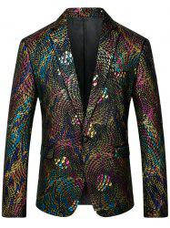 One Button Colorful Scales Pattern Blazer - COLORMIX