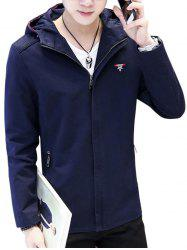 Zip Up American Flag Embroider Hooded Jacket