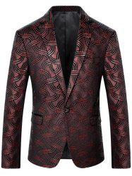 One Button Net Pattern Blazer