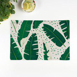 Plant Print Heat Insulation Non Slip Placemat - GREEN PATTERN C