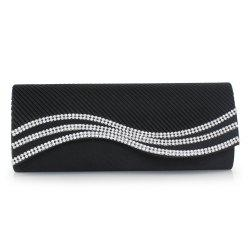 Rhinestone Satin Pleated Evening Bag
