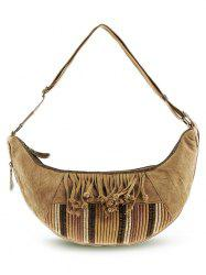 Tassel Linen Ethnic Crossbody Bag - Kaki