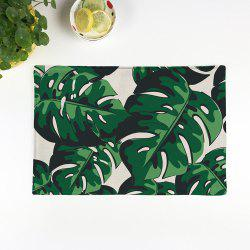 Plant Print Heat Insulation Non Slip Placemat - GREEN PATTERN A