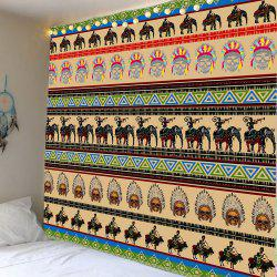 Tribal African People Elephant Print Wall Hanging Tapestry -