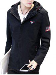 Zip Up Amercian Flag Embroider Hooded Jacket
