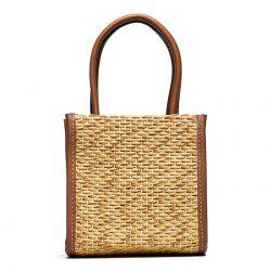 Straw Woven Tote Bag - BROWN