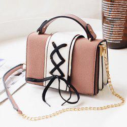 Lace Up Suede Panel Crossbody Bag -