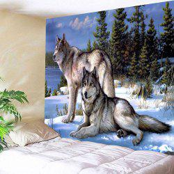 Snow Wolf Fabric Wall Hanging Decorative Tapestry