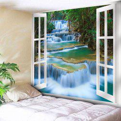 Window Scenery Printed Wall Hanging Tapestry - GREEN