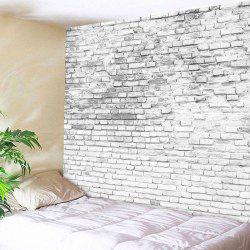 Stone Brick Wall Hanging Decorative Tapestry - GREY WHITE