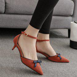 Two Piece Bowknot Suede Pumps -