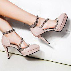 Studded Pointed Toe High Heel Pumps