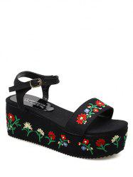 Embroidery Denim Platform Sandals - BLACK