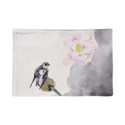 Chinese Ink Painting Linen Rectangle Placemat -