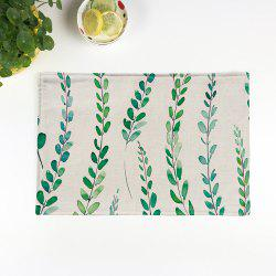 Linen Tropical Plants Print Placemat For Table - BEIGE