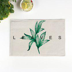 Linen Tropical Plants Print Placemat For Table - BEIGE PATTERN C