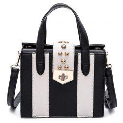 Contrast Color Rivet Handbag - WHITE AND BLACK