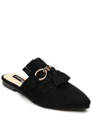 Tassels Pointed Toe Slippers - BLACK