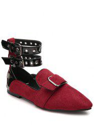Eyelets Buckle Straps Flat Shoes