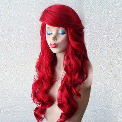 Long Deep Side Bang Wavy Synthetic Wig - RED