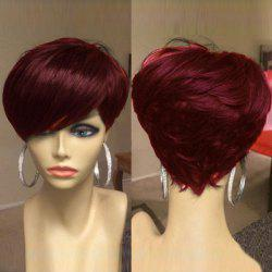 Short Oblique Bang Shaggy Layered Straight Synthetic Wig