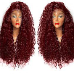 Long Curly Side Parting Lace Front High Temperature Fiber Wig - WINE RED