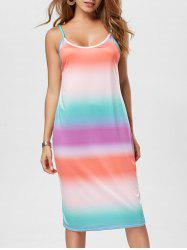 Lattice Backless Ombre Print Spaghettic Strap Dress