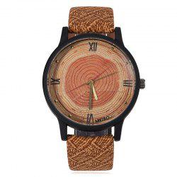 Wood Growth Rings Face Faux Leather Strap Watch