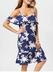 Floral Print Flounce Open Shoulder Slip Dress