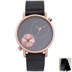 Faux Leather Strap Round Minimalist Watch