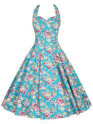 Halter Plus Size Floral A Line Dress