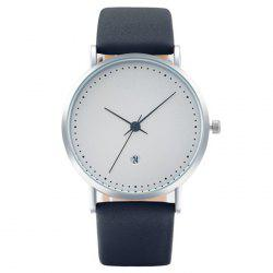 Minimalist Faux Leather Strap Date Watch