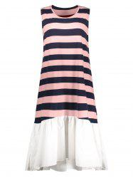 Striped Plus Size Ruffle Hem Tank Dress