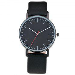 Faux Leather Band Round Minimalist Watch