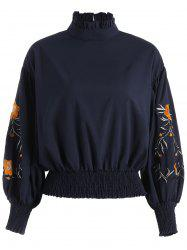 Flower Embroidered Ruffled Long Sleeve Top