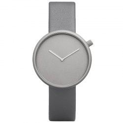 Minimalist Faux Leather Strap Round Analog Watch