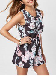 Floral Sleeveless Lace Up Chiffon Romper
