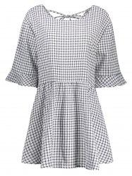Plus Size Gingham Check Smock Dress